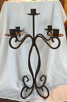 Vintage Black Wrought Iron 5 Candle Candelabra