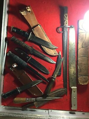 RARE U.S. WWII WW2 Theater Fighting Knife Lot Western Camillus Kabar MK2 Dagger