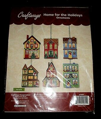 HOME for the Holidays Christmas Ornaments Counted Cross Stitch Kit Set of 6