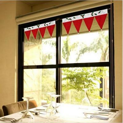 Christmas Red Hat Valance Home Window Curtain Bunting Banner Party Xmas Decor B