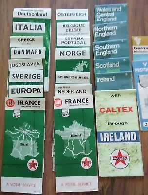 VINTAGE EUROPEAN TRAVEL MAPS Lot of 23 from 1968