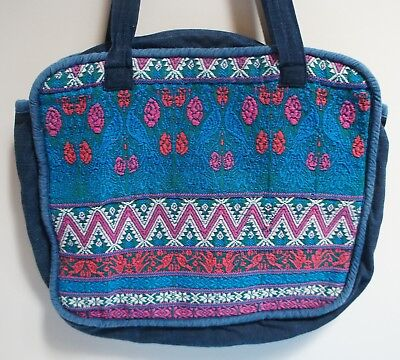 Vintage Hand-Embroidered Guatemalan Multicolor Quilted Cotton Zippered Tote Bag