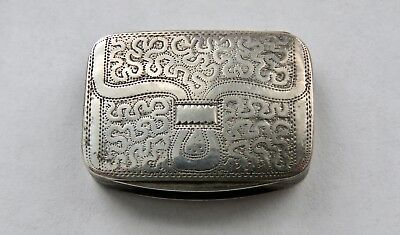 Rare English Sterling Silver Vinaigrette,Purse Engraved  Matthew Linwood, c.1818
