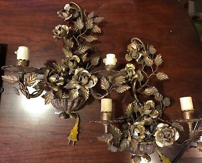 Pair of Vintage Tole Floral Rose Gilded Sconce Made In Italy Electric Working