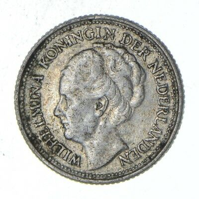Roughly Size of Dime - 1936 Netherlands 10 Cents - World Silver Coin *790