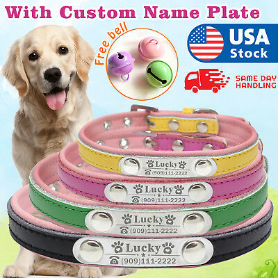 Personalized Dog Soft Collar with name plate Leather Padded Custom Pet ID tag