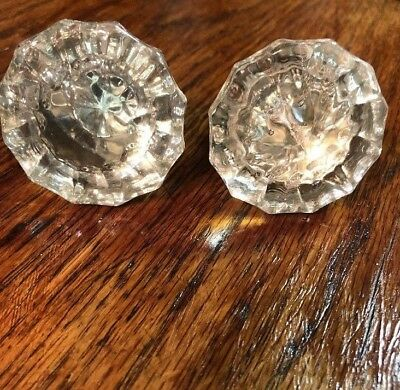 A Pair of Vintage Clear Decorative Glass Crystal Door Knobs