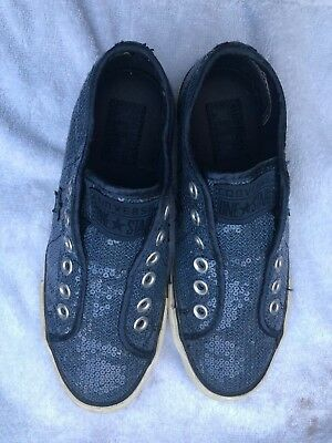 Converse One Star Blue Sequin Sneakers Shoes Women's 7 M Low Top Slip On