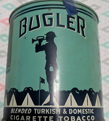 Vintage Bugler Cigarette Tobacco Tin Empty - Date Unknown Good Color  No dents