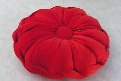 Vintage Mid Century ROUND TUFTED PILLOW Red Velvet Fabric BUTTON MIDDLE