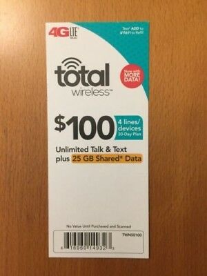 $100 Total Wireless Refill Card (Instant Delivery!)