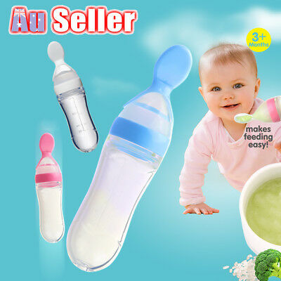 Baby supplement Bottle Feeder Squeeze Feeding Spoon Food Rice Cereal Silicone