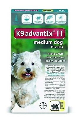 K9 Advantix II for Medium Dogs 11-20 lbs 1 Month Supply FREE SAME DAY SHIPPING