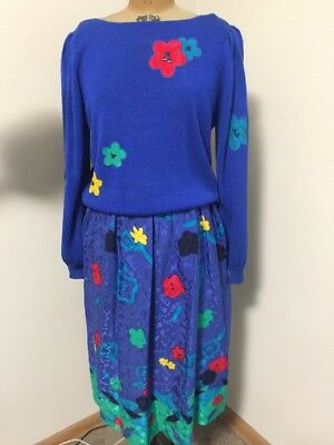 Vintage UMI COLLECTION ANNE CRIMMINS Size L/12 Sweater & Skirt 2 Pc Outfit