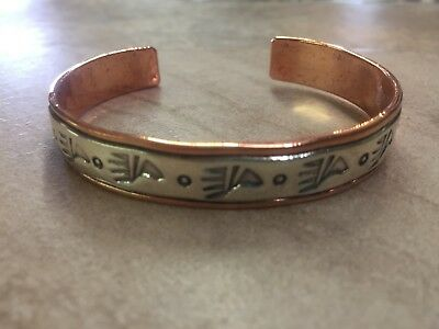 Native American Navajo Indian Copper Sterling Bear Paw Pattern Bracelet C Little