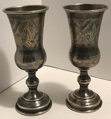 2 Matching Antique Imperial Russian 84 Silver Kiddish Kiddush Footed Cups
