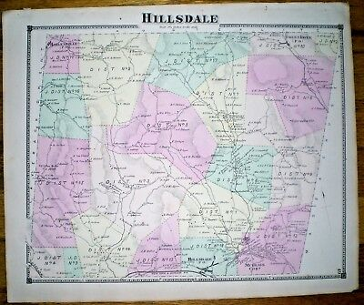 1873 Map Of Hillsdale, N.y. ~ Hand Colored ~ D.g. Beers ~ Columbia County