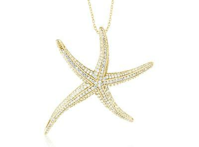 18k Yellow Gold Sterling Silver Pave White Sapphire Starfish Halo Stack Necklace