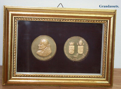 Papal Or Vatican Medals  Two Coins or Medals Mounted In Shadow Box  1980