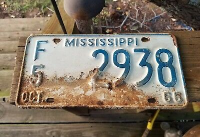 Vintage Rustic 1966  Mississippi Farm  License Plate #f5. 2938