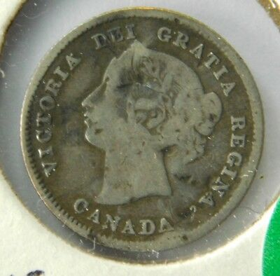 1870 Canadian .925 Silver Five Cents Dinged 2.8M Minted - $4 Start #132