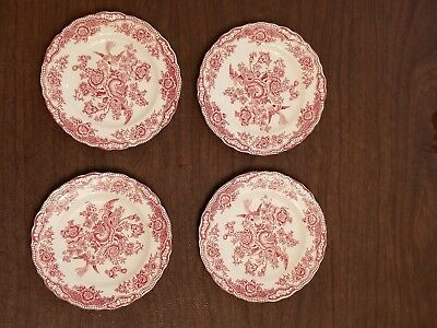 "4Vintage Crown Ducal Pink Bristol Bread and Butter Plate Pink Red 5.75"" England"
