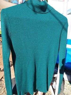 Styled By Lipp Ladies Forest Green Wool Vintage Turtle Neck Jumper. Vgc. Sz : M
