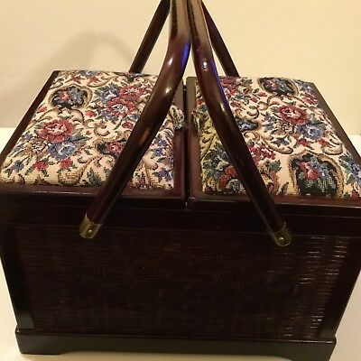 Gorgeous! Wood And Wicker Sewing Box W/ Tapestry Lid Tray & Pin Cushions!