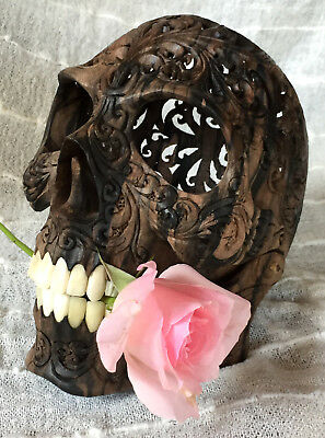 Hand Carved Wooden Realistic Human Skull Unique Amazing Rare Blackwood