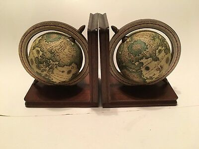 Vintage Pair Old World Globe Bookends Spinning