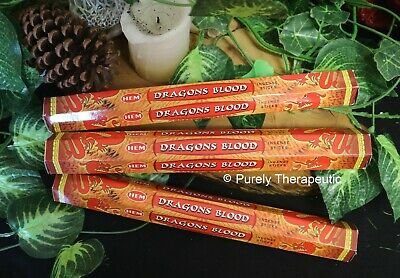 DRAGONS BLOOD INCENSE STICKS~Hem Hexagonal Pack of 20 Sticks Wicca Spirit Pagan