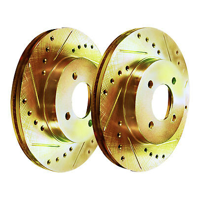 Gold Hart *DRILLED /& SLOTTED* Disc Brake Rotors C2695 2 FRONT + 2 REAR
