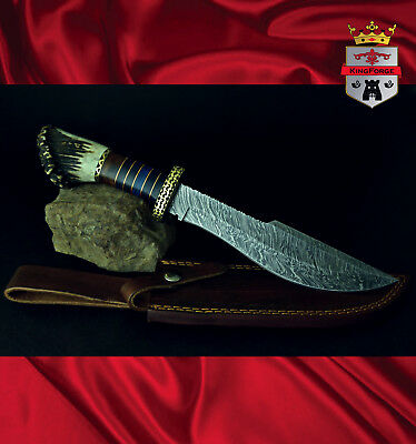 Damasacus hunting knives 080 Stag hunter KingForge, Bush knife carbon steel gift