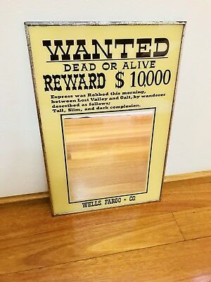Vintage Dead or Alive Reward $10,000 Metal Framed Bar Pub Mirror
