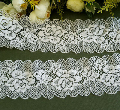 6.8 cm width Beautiful Milky White Stretch Lace Trim