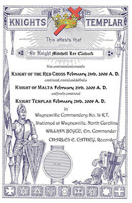 PERSONALIZED Masonic Knights Templar Certificate Record art print ring York Rite
