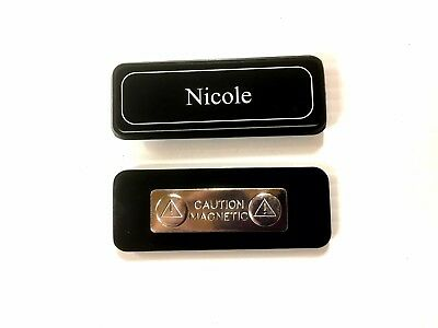 Name Badge + magnet attached, laserable plastic 70X23mm