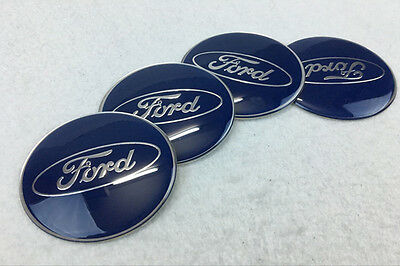 4Pcs Car Wheel Center Hub Cap Covers emblem sticker 65mm for Ford Blue