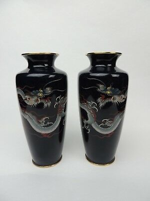Fine quility Japanese Cloisonne dragon vases