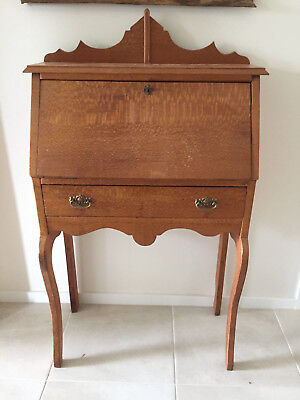 Antique Silky Oak Writing Desk / Bureau 1190mm High