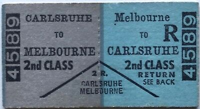 VR Ticket - CARLSRUHE to MELBOURNE - 2nd Class Return
