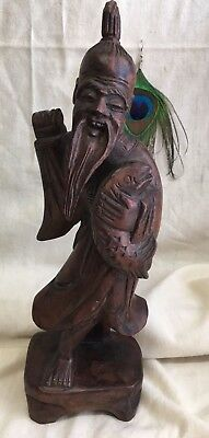 Vintage Chinese Wood Carved Carving Statue Immortal Longevity Shou Lao Fish