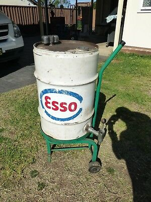 Esso Oil Drum With Tap And Trolley Nice Display