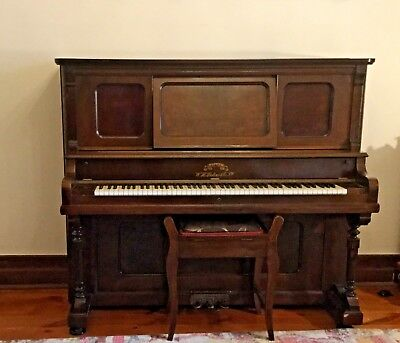 Antique Upright  W. H. Paling & Co Victor piano and matching stool C1900 - 1910