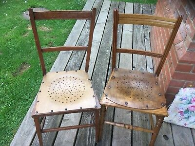 Vintage Old Antique Wooden Chairs Ornate Carved