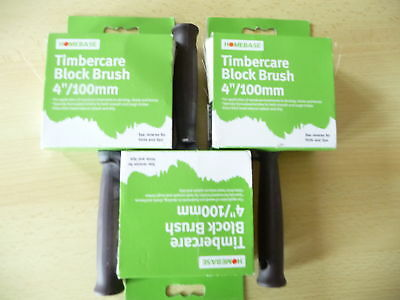 """Job lot of 3 x 4"""" (100mm)quality Homebase timber care """"block"""" brushes.New."""