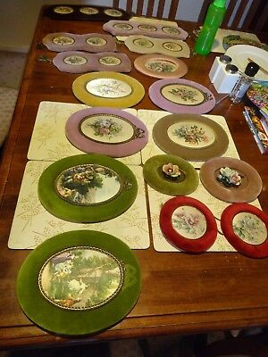 Velvet lined oval pictures with silk portraits and flower arrangements.Vintage.