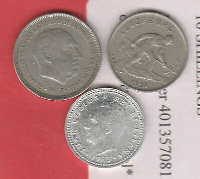 World Coins X 3 Coins  Luxembourg X1 Spain X2 Circulated