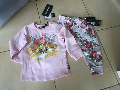 Rock Your Baby Slouch Pants 6-12 Months And Cat  Tee Sz 12-18 Months Bnwt