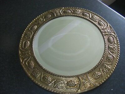 Antique Round Arts and Crafts? Wall Mirror Brass Vintage Retro Bevelled
